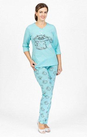 Костюм домашний с брюками, принт, голубой (596-3)