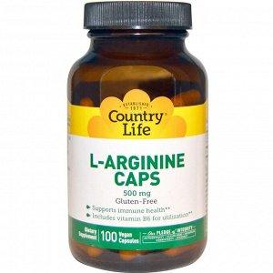 Country Life, L-Arginine Caps, 500 mg, 100 Vegan Capsules
