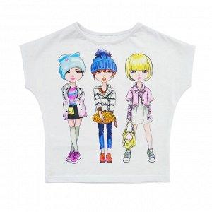 Блузка Стильная летняя блузка для девочек. Модный принт. Материал: 95% хлопок, 5% эластан, кулирка с лайкрой Размеры: 30, 32, 34,36 Цвет - Белый
