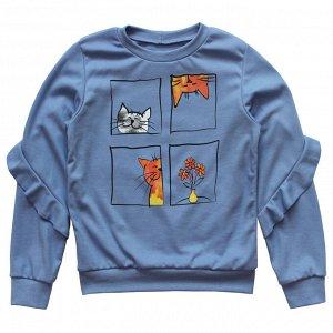 Блузка Милая блузка для девочек. Модный принт. Состав -  100% хлопок, интерлок пенье. Цвет - Любой Персиковый Серо-голубой