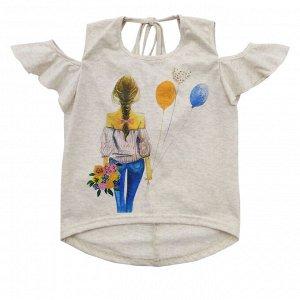 Блузка Красивая блузка юных модниц. Украшена шелкографией. Оригинальный покрой. Цвет: бежевый меланж. Материал: 95% хлопок, 5% эластан, кулирка меланж Размеры: 30, 32, 34, 36 Цвет - Белый