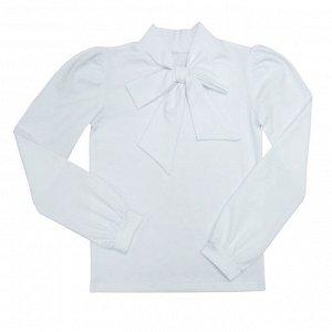 Блузка Украшена оригинальным бантом. Длинный рукав на манжетах. Материал: 92% хлопок 8% эластан, фуллайкра Размеры: 32, 34, 36, 38 Цвет - Белый