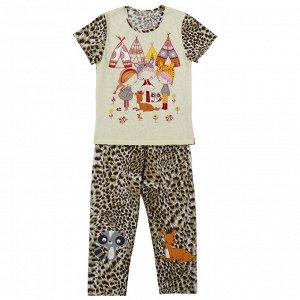 Пижама Милая пижамка. Яркий модный принт. Материал: 100% хлопок, кулирка Размеры: 26, 28, 30, 32 Цвет - Бежевый