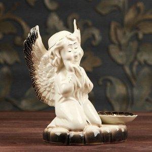 """Подсвечник """"Молящийся ангел"""". бело-серый цвет. 18 см"""