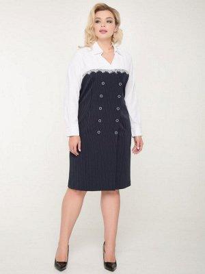 """Платья Платье прилегающего силуэта, выполнено из костюмной ткани с принтом""""полоска"""" и блузочной - молочного оттенка. - горловина на стойке с отложным воротником - длинные втачные рукава на манжете -"""