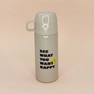 "Термос ""You want happy"", white 350ml"