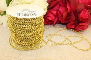 Бусы на нитке под жемчуг 3мм * 1 метр (золотого цвета )