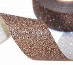 """Лента Полипропилен песок """"Блеск"""" Темный шоколад 3см 25 ярд."""