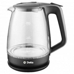 Чайник электрический 2200 Вт, 1,7 л DELTA DL-1331 черный с серым