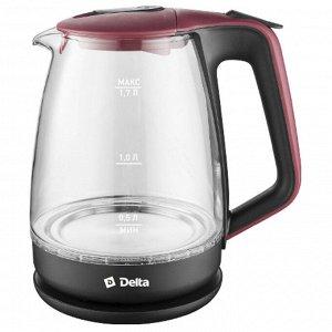 Чайник электрический 2200 Вт, 1,7 л DELTA DL-1331 черный с красным