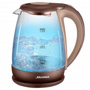 Чайник электрический 2200 Вт, 1,7 л АКСИНЬЯ КС-1040 бежевый с коричневым