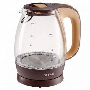 Чайник электрический 2200 Вт, 1,7 л DELTA DL-1203 коричневый с бежевым