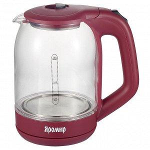Чайник электрический 2000 Вт, 1,8 л ЯРОМИР ЯР-1050 бордовый