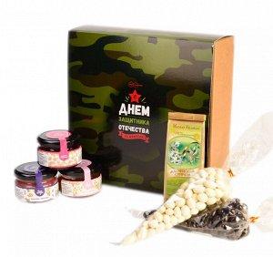 """Подарочный набор """"23 февраля Хаки """" конфитюр малиновый, мёд гречишный, крем-мёд с ежевикой, чай, драже"""