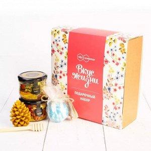 """Подарочный набор """"Вкус Жизни"""" ореховое ассорти, восковая свеча, бомбочка для ванн, медовая ложечка"""