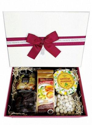 """Подарочный набор """"Для тебя № 2"""" лимонный конфитюр, мёд с орехами, драже, чай"""