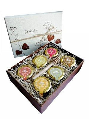 """Подарочный набор """"Для тебя"""" мёд акациевый, цветочный, липовый, с малиной, курагой и кедр. орешк. с медовой ложечкой"""