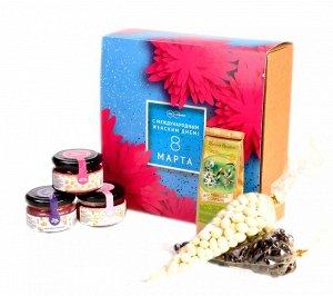 """Подарочный набор """"С 8 марта Астры"""" конфитюр малиновый, мёд гречишный, крем-мёд с ежевикой, чай, драже"""