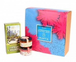 """Подарочный набор """"С 8 марта Астры"""" конфитюр абрикосовый, крем-мед с малиной, бальзам"""