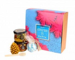 """Подарочный набор """"С 8 марта Астры"""" ореховое ассорти, восковая свеча, бомбочка для ванн, медовая ложечка"""