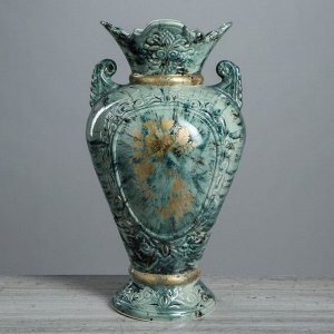 """Ваза напольная """"Кристи"""". под малахит. цвет зеленый. золотистая деколь. 42 см. керамика"""