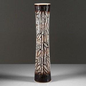 """Ваза напольная """"Виола"""" коричневая, бамбук, 76 см, керамика"""