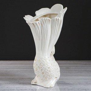 """Ваза настольная """"Рыбка"""". декор золотистый. 32.5 см. керамика"""