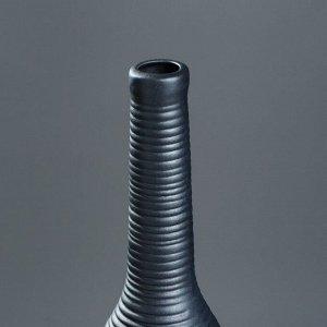 """Ваза настольная """"Кегля"""". чёрная. матовая. 35 см. керамика"""