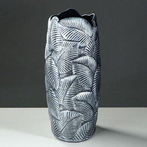 """Ваза напольная """"Лист"""". серебро. 66 см. керамика. микс"""