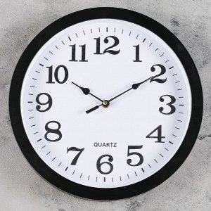 Часы настенные круглые Paul. d=32 см. циферблат белый. рама чёрная. стрелки микс