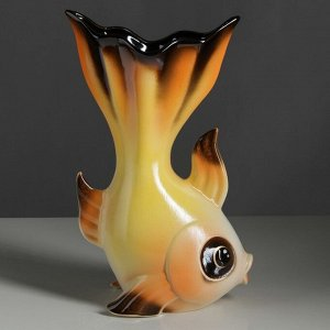 "Ваза настольная ""Золотая рыбка"" жёлтая. 35 см. керамика"