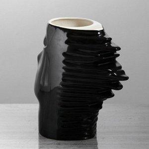 """Ваза настольная """"Афродита"""". глянец. чёрная. 24 см. керамика"""