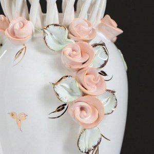 """Ваза настольная """"Кокетка"""". цветы. цветная лепка. плетение. золотистая роспись. 29 см. микс. керамика"""
