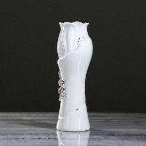 """Ваза настольная """"Азалия"""" золото. лепка. белая. 32 см. керамика"""