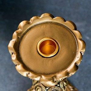 Подсвечник на резной круглой подставке. золото 11х11х25см