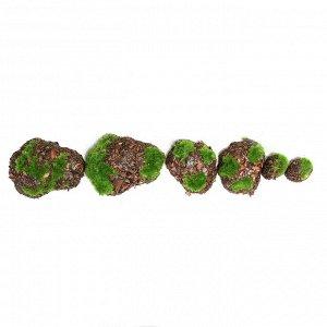 Мох искусственный «Камни». с корой. набор 6 шт.