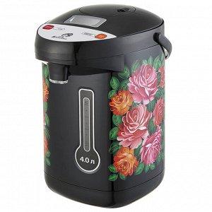 """Чайник-термос электрический 900 Вт, 4 л ВАСИЛИСА ВА-5010 """"Цветы"""""""