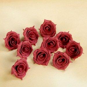 """Набор цветов для  декора """"Роза"""", из фоамирана, D= 3 см, 10 шт, бордо"""