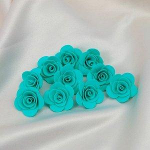 """Набор цветов для  декора """"Роза"""", из фоамирана, D= 3 см, 10 шт, бирюзовый"""