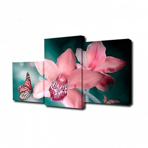"Картина модульная на подрамнике ""Бабочка с орхидеями"" 26х50, 26х40; 26х32. 50*80см"
