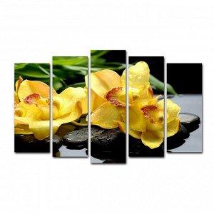"""Картина модульная на подрамнике """"Жёлтые орхидеи"""" 125*80 см"""