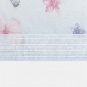 """Тюль с подхватом и ламбрекеном """"Бабочки"""" 250х200см. 100% п/э. вуаль"""