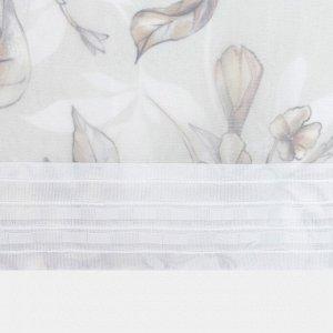 """Тюль с подхватом и ламбрекеном """"Floral mood"""" 250х200см. 100% п/э. вуаль"""