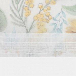 """Тюль с подхватом и ламбрекеном """"Солнечные цветы"""" 250х200см. 100% п/э. вуаль"""