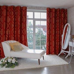 Штора портьерная Этель «Версаль» 160?270 см. цвет красный. 100% п/э