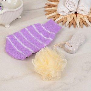 Набор банный, 3 предмета: 2 мочалки, пемза, цвет МИКС