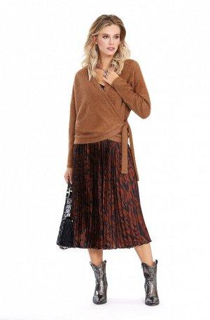 Комплект-тройка из трикотажного джемпера, топа и плиссированной юбки