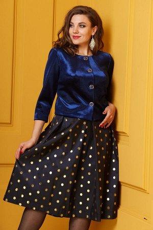Женский комплект жакет из велюра и юбка