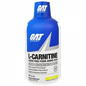 GAT, L-карнитин, аминокислота в свободной форме, со вкусом зеленого яблока, 473 мл (16 унций)