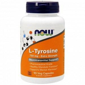 Now Foods, L-тирозин, с повышенной силой действия, 750 мг, 90 растительных капсул